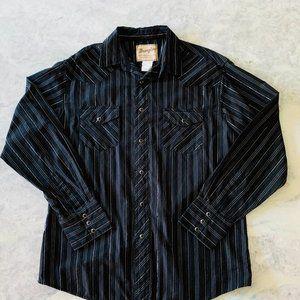 Wrangler Western Snap Button Shirt Black & Silver